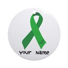 Personalized Green Ribbon (heart) Ornament (Round)