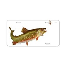 Vintage trout fishing illustration Aluminum Licens