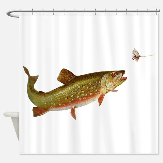 Vintage trout fishing illustration Shower Curtain