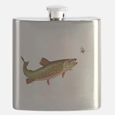 Vintage trout fishing illustration Flask