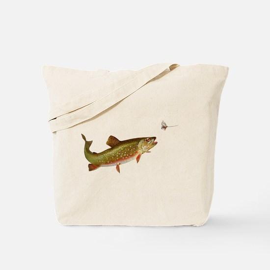 Vintage trout fishing illustration Tote Bag