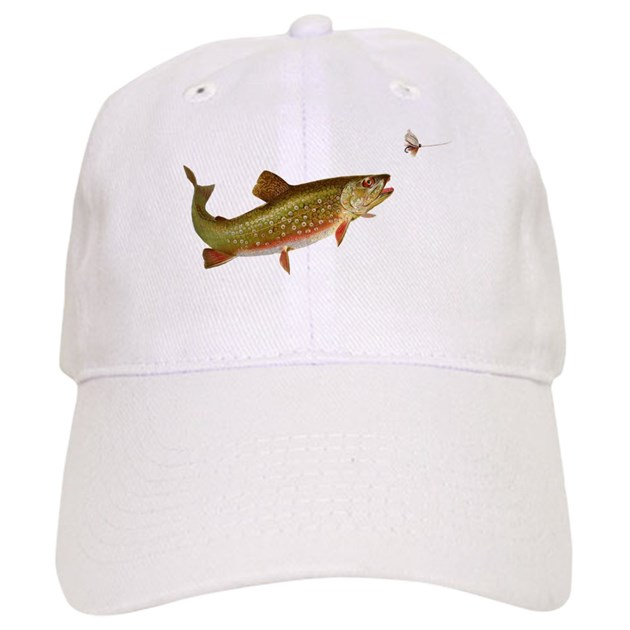 Vintage trout fishing illustration baseball hat by doodlefly for Trout fishing hat