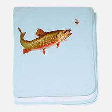Vintage trout fishing illustration baby blanket