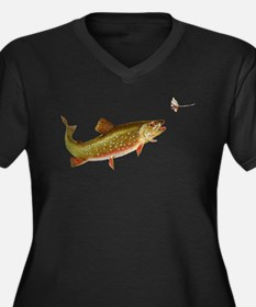 Vintage trout fishing illustration Plus Size T-Shi
