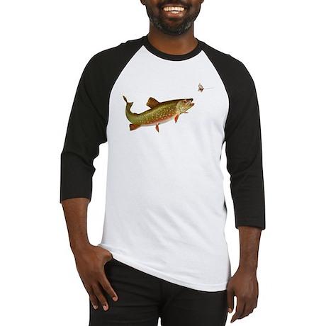 Vintage trout fishing illustration Baseball Jersey