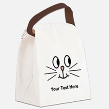 Cute Cat Face, Black Text. Canvas Lunch Bag