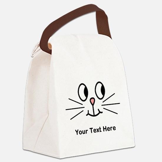 Cute Cat Face, Black Text. Canvas Lunch Bag