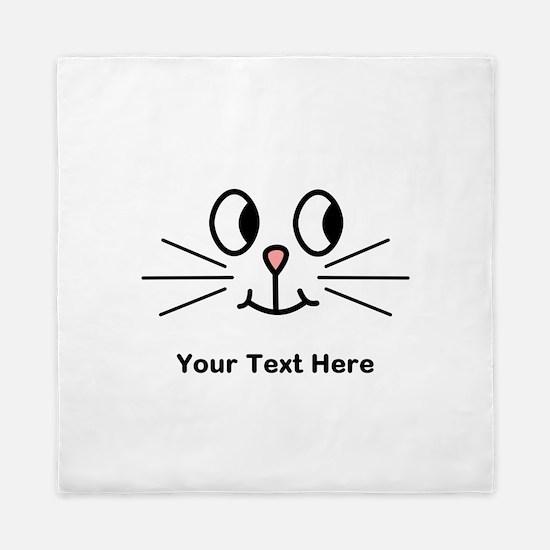 Cute Cat Face, Black Text. Queen Duvet