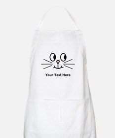 Cute Cat Face, Black Text. Apron