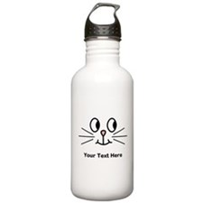 Cute Cat Face, Black Text. Water Bottle