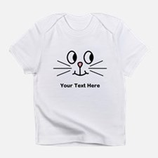 Cute Cat Face, Black Text. Infant T-Shirt