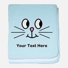 Cute Cat Face, Black Text. baby blanket