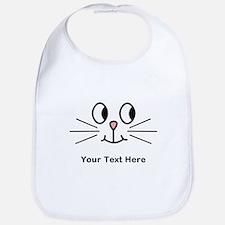 Cute Cat Face, Black Text. Bib