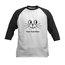 Cute Cat Face, Black Text. Baseball Jersey