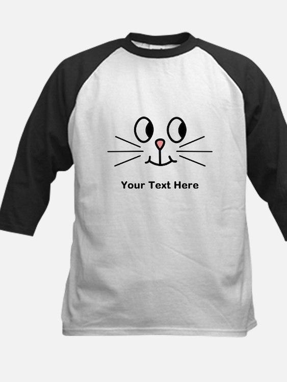 Cute Cat Face, Black Text. Baseball Jersey