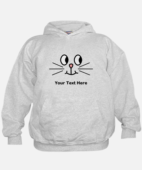 Cute Cat Face, Black Text. Hoodie