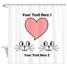 Cats and Love Heart. Text. Shower Curtain