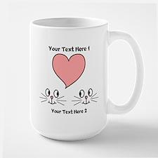 Cats and Love Heart. Text. Mug