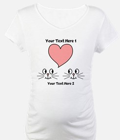 Cats and Love Heart. Text. Shirt