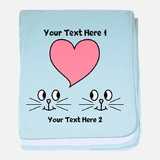 Cats and Love Heart. Text. baby blanket