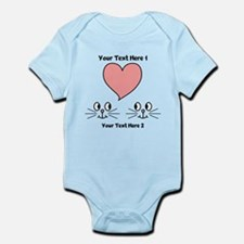 Cats and Love Heart. Text. Body Suit