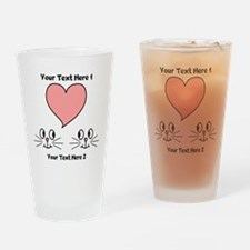 Cats and Love Heart. Text. Drinking Glass