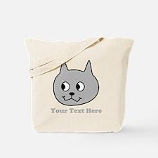 Gray Cartoon Cat. Text. Tote Bag