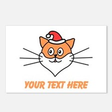 Cat, Santa Hat and Beard. Text. Postcards (Package