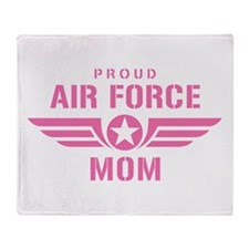 Proud Air Force Mom W [pink] Throw Blanket