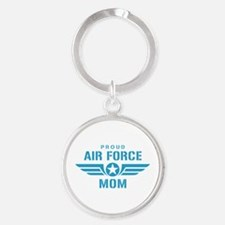 Proud Air Force Mom W Round Keychain