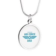 Proud Air Force Dad W Silver Round Necklace