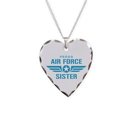 Proud Air Force Sister W Necklace Heart Charm