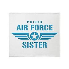 Proud Air Force Sister W Throw Blanket