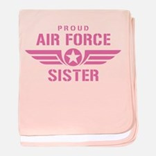 Proud Air Force Sister W [pink] baby blanket