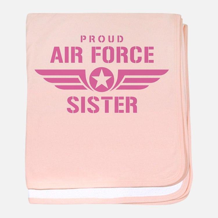Proud Air Force Sister W [pink] baby blanket