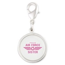 Proud Air Force Sister W [pink] Silver Round Charm