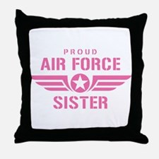 Proud Air Force Sister W [pink] Throw Pillow