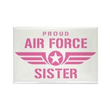 Proud Air Force Sister W [pink] Rectangle Magnet