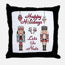 Happy Holidays Nutcracker Throw Pillow
