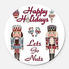 Happy Holidays Nutcracker Round Car Magnet