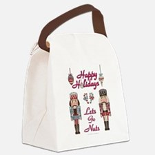 Happy Holidays Nutcracker Canvas Lunch Bag