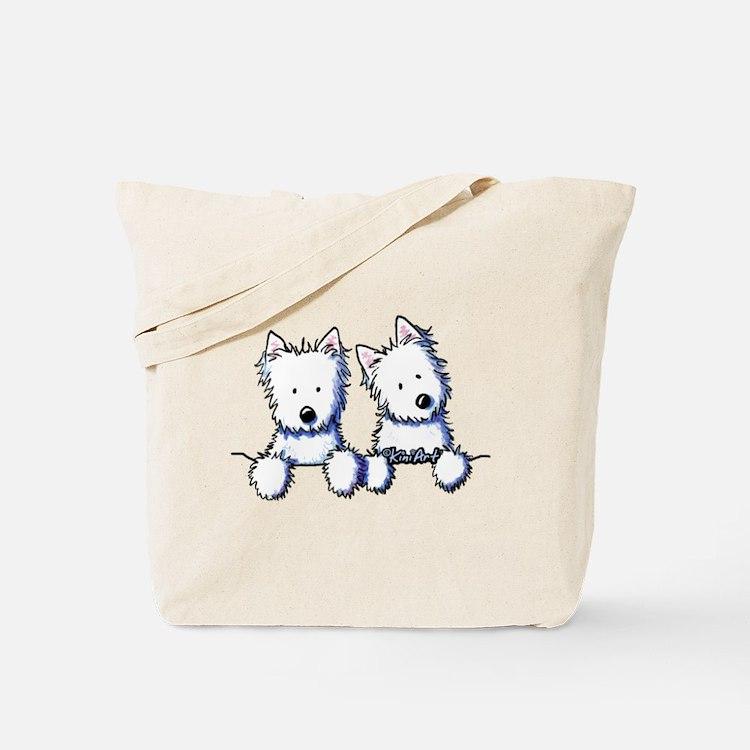 Pocket Westie Duo Tote Bag