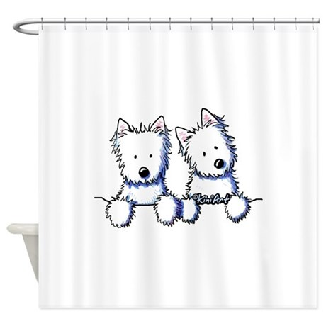 Pocket Westie Duo Shower Curtain