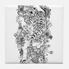 Albino Tiger Tattoo Tile Coaster