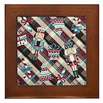 Happy Holidays Nutcracker Plaid Framed Tile