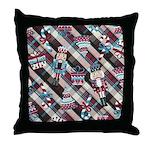 Happy Holidays Nutcracker Plaid Throw Pillow