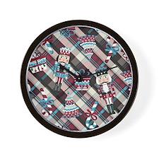 Happy Holidays Nutcracker Plaid Wall Clock