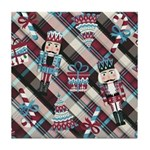 Happy Holidays Nutcracker Plaid Tile Coaster