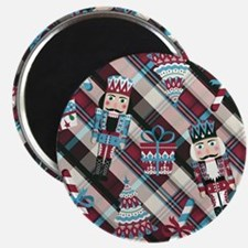 Happy Holidays Nutcracker Plaid Magnet