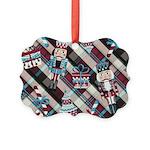 Happy Holidays Nutcracker Plaid Ornament